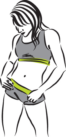 women working out: fitness woman illustration Illustration