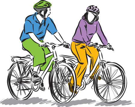 scenary: couple driving bicycles illustration Illustration