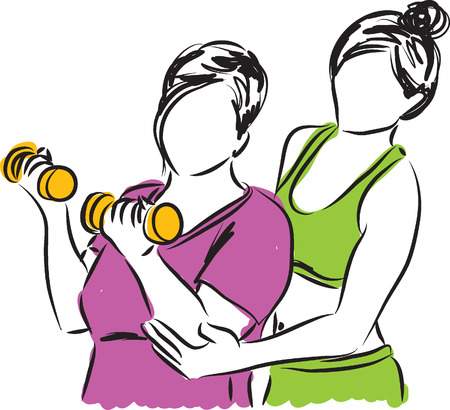 female bodybuilder: women personal trainer illustration Illustration