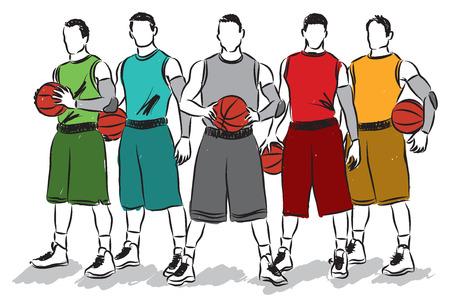 slam dunk: basketball players illustration