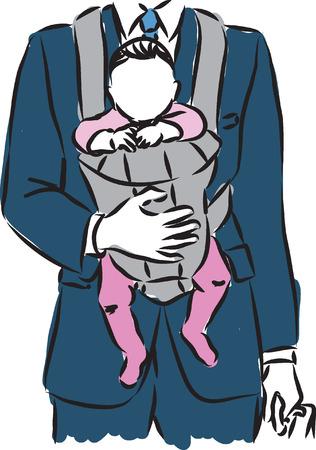 사업가 아버지와 아기 그림 일러스트