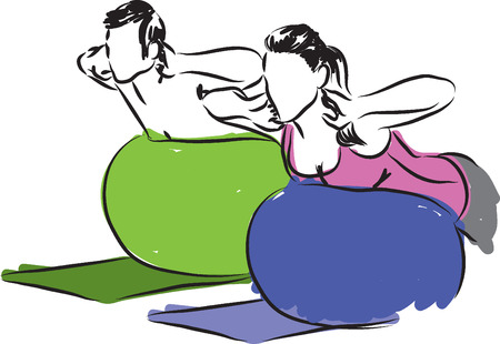 man working out: Couple working-out fitness illustration