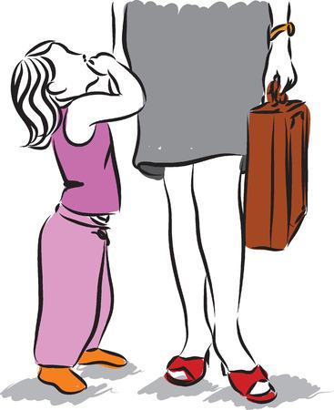 mom working illustration Illustration