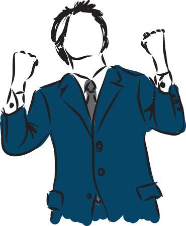 businessman happy winner illustration Vector