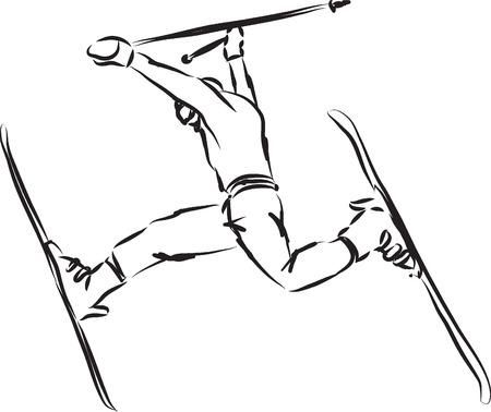 snowboarder: ski jump illustration
