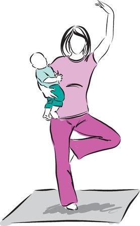 baby moeder: yoga moeder met baby illustratie