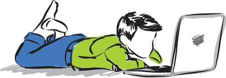 using tablet: child at computer laptop illustration