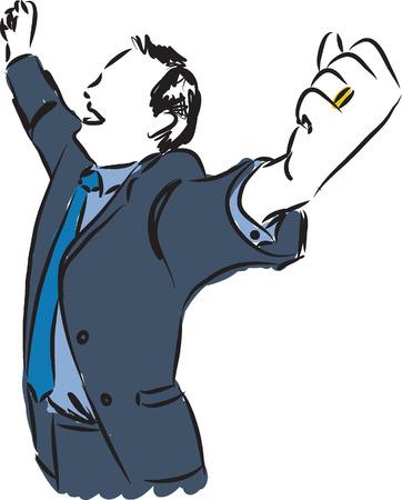 empresario: feliz hombre de negocios ilustraci�n