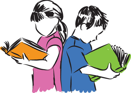 picture person: children boy and girl reading books illustration