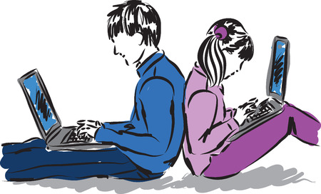 girl with laptop: boy and girl with laptop computers illustration Illustration