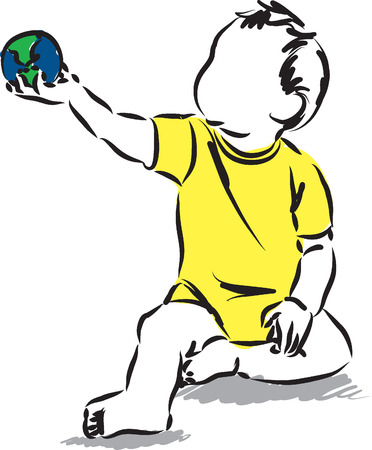 sketch child: baby holding a world map sphere ball illustration Illustration