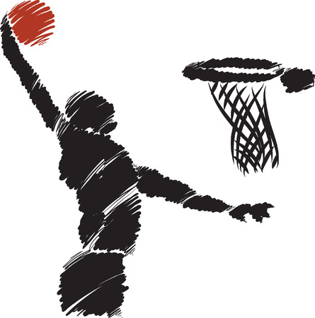 hand basket: BASKETBALL player illustration