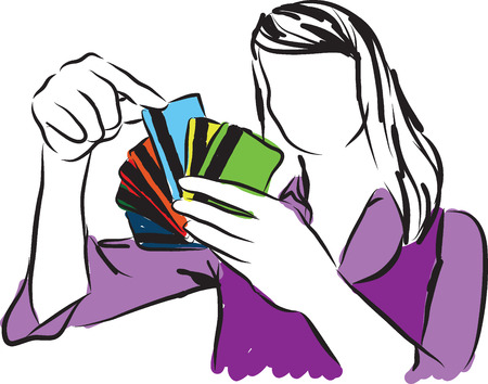 choosing clothes: woman choosing a credit card illustration