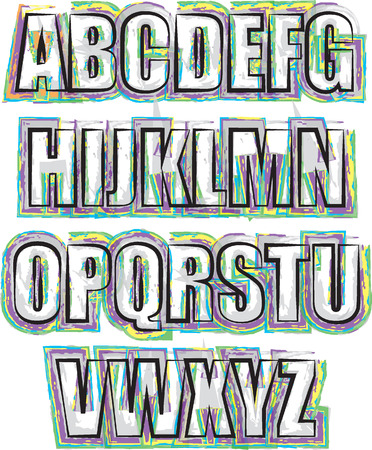 s w o t: Alphabet brush  outline style illustration COLORS copy