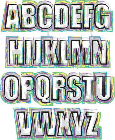 Alphabet brush  outline style illustration COLORS copy
