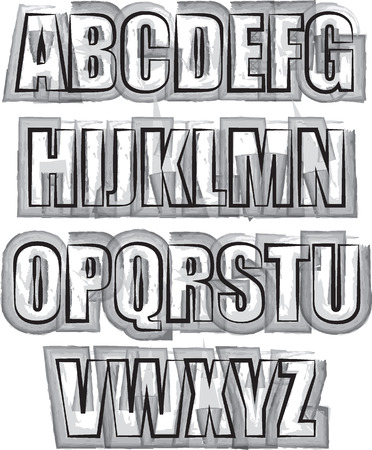 Alphabet brush  outline style illustration Vector