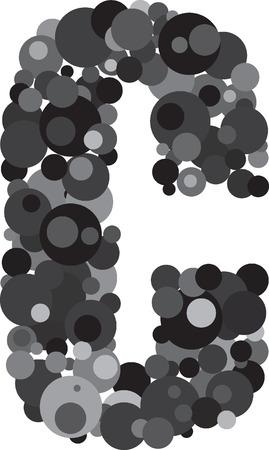 s m: alphabet bubbles letter C illustration