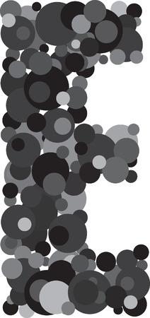 e u: alphabet bubbles letter E illustration