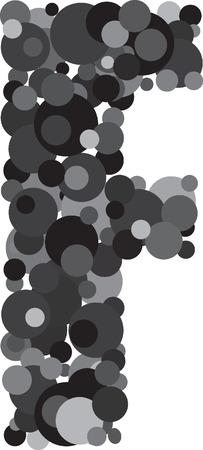 s m: alphabet bubbles letter F illustration