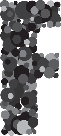 u k: alphabet bubbles letter F illustration