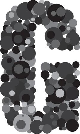 s c u b a: alphabet bubbles letter G illustration