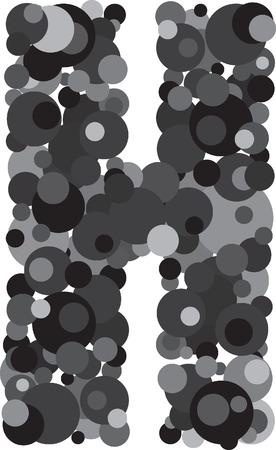 s c u b a: alphabet bubbles letter H illustration