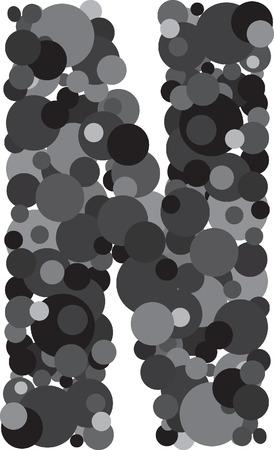 u s a: alphabet bubbles letter N illustration