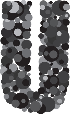 s c u b a: alphabet bubbles letter U illustration
