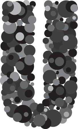 alphabet bubbles letter U illustration