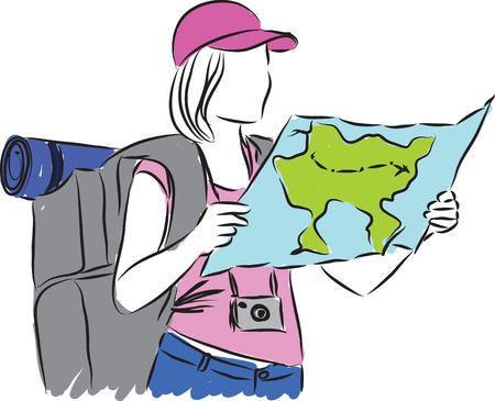woman turist illustration Çizim