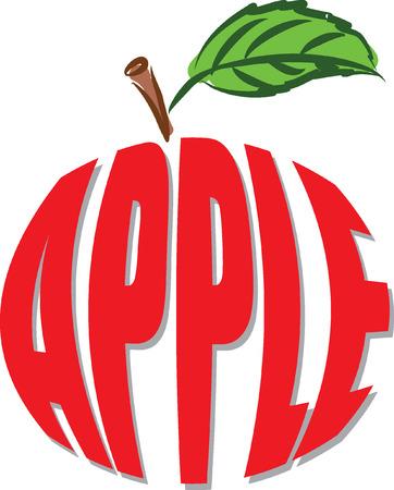 leaf illustration: apple text illustration