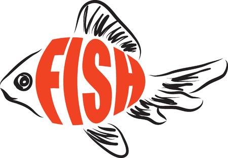 Texte poissons illustration Banque d'images - 41848099