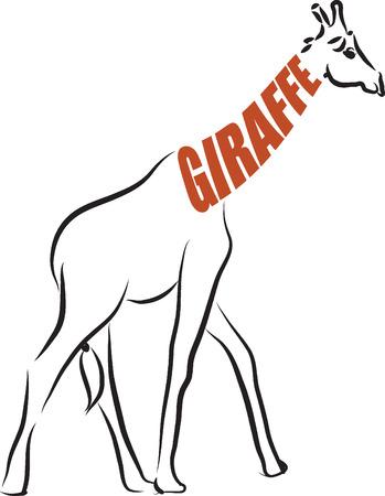 giraffe text illustration Çizim
