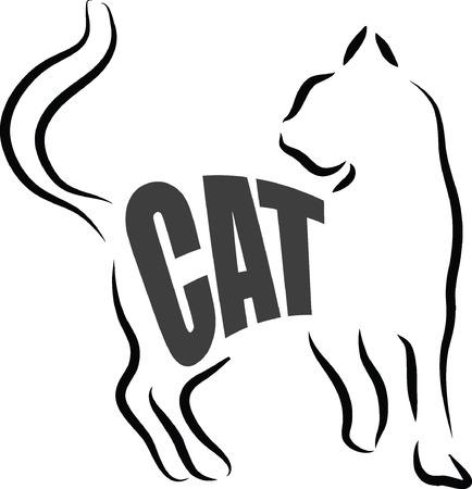 silueta de gato: CAT ILUSTRACIÓN LETRAS Vectores