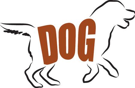 cute puppy: DOG LETTERING ILLUSTRATION