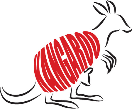 pouch: kangaroo LETTERING ILLUSTRATION Illustration