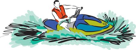 moto acuatica: ILUSTRACIÓN JETSKI Vectores