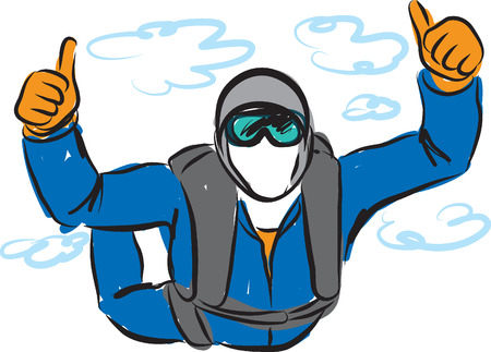 exciting: SKY DIVING MAN SOLO ILLUSTRATION