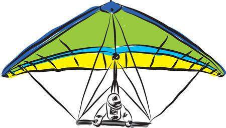 parapente: hang ilustración deslizamiento Vectores