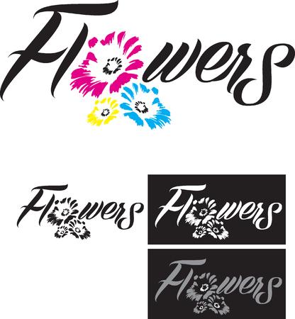 花イラストやレタリング A