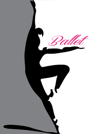 silueta: bailarín de ballet de la silueta 4 letras rosadas