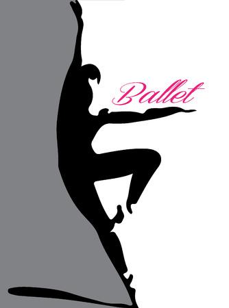 ballet dancing: ballet dancer silhouette 4 pink lettering Illustration