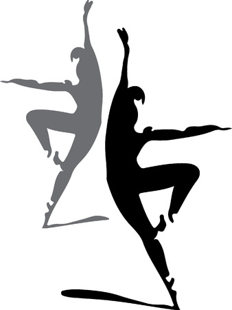 stock photograph: ballet dancers silhouette  Illustration