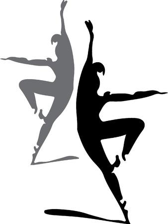ballet dancers silhouette  Illustration