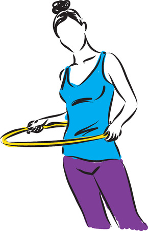 women working out: Hula-Hoop girl illustration