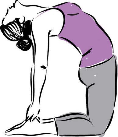 women working out: yoga illustration  Illustration