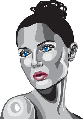 stock vista: Metallic Woman Face illustration Illustration