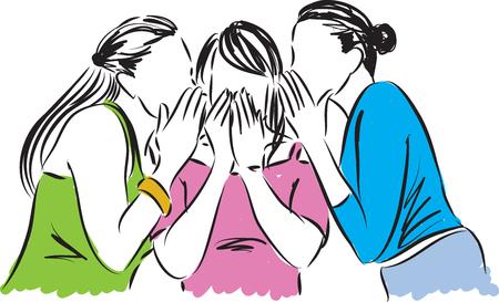 telling: women telling gossip illustration Illustration