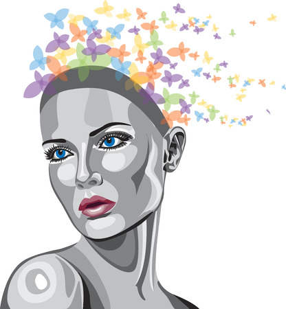 brunet: Metallic face woman with butterflies Illustration