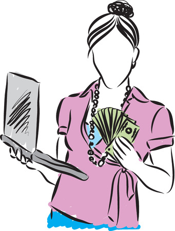 Woman holding money  with laptop